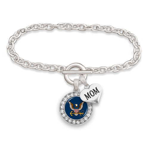 Custom U.S. Navy Round Crystal Bracelet for Mom