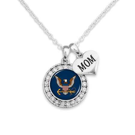Custom U.S. Navy Round Crystal Necklace for Mom