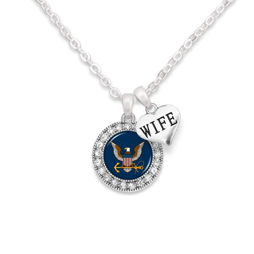 Custom U.S. Navy Round Crystal Necklace for Wife