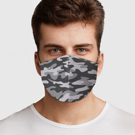 Gray Camo Design Face Cover