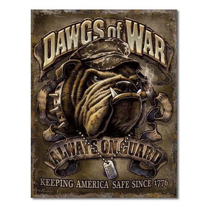 Dawgs of War USMC Tin Sign-Military Republic
