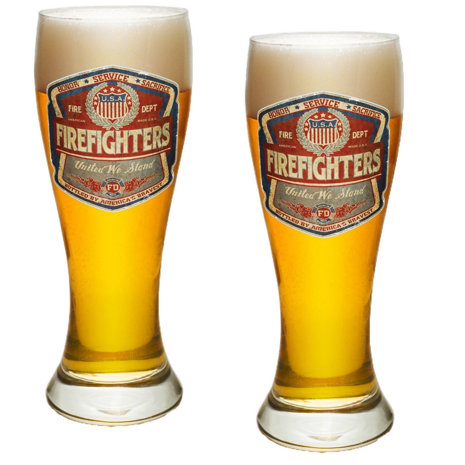 Denim Fade Firefighter Pilsner Glass Set-Military Republic