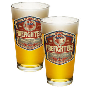 Denim Fade Firefighter Pint Glasses-Military Republic