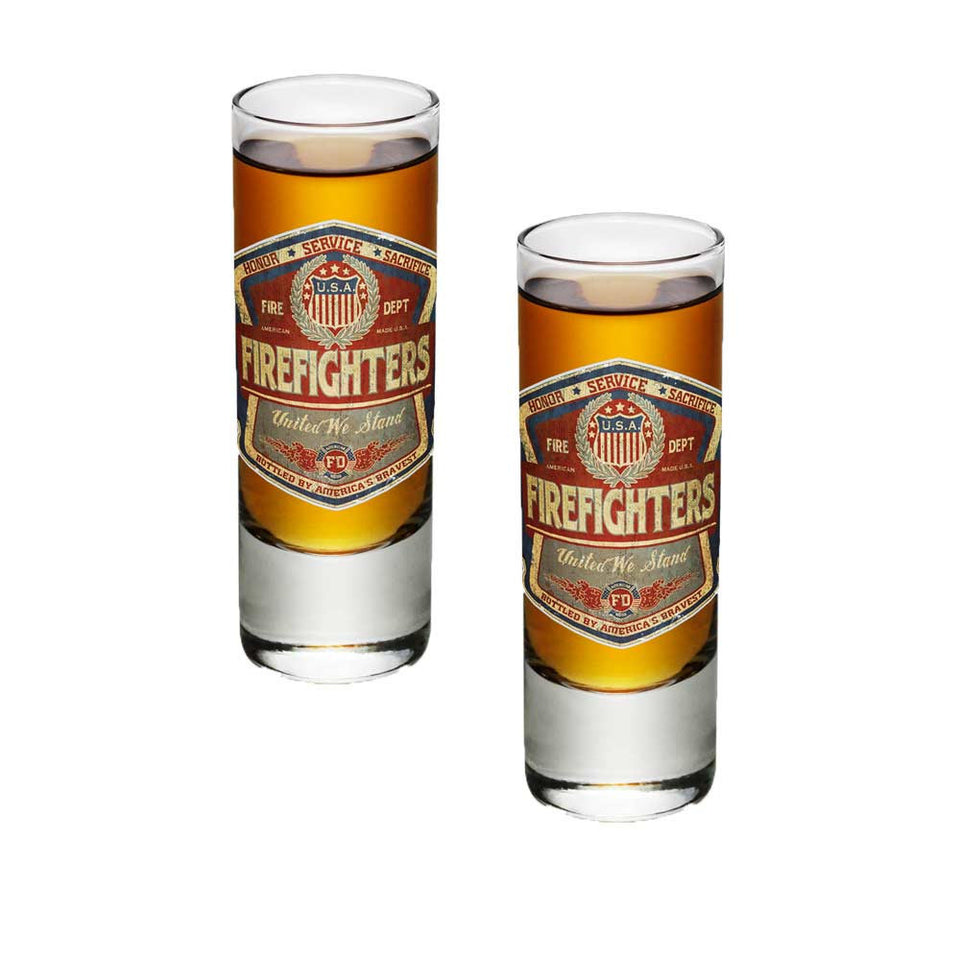 Denim Fade Firefighter Shot Glasses-Military Republic