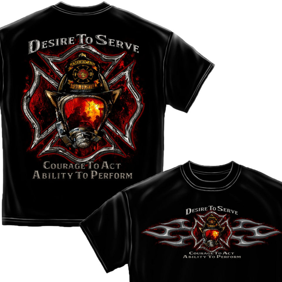 Desire To Serve Firefighter T Shirt-Military Republic