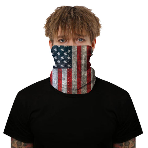 Distressed Riveted USA Flag Outdoors Motorcycle Face Mask Bandana Headwear