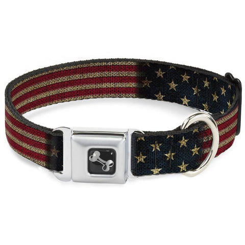 Dog Bone Seat Buckle Dog Collar - Vintage Stretched US Flag