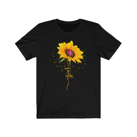 Pink Ribbon Sunflower Faith - Breast Cancer Awareness  T-Shirt
