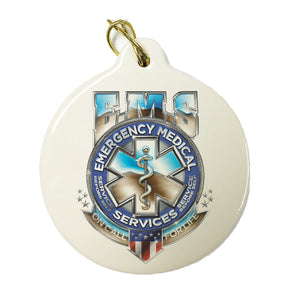 EMS Chrome Badge Christmas Ornament-Military Republic
