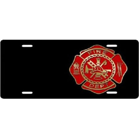 Fire Department Black Offset Airbrush License Plate
