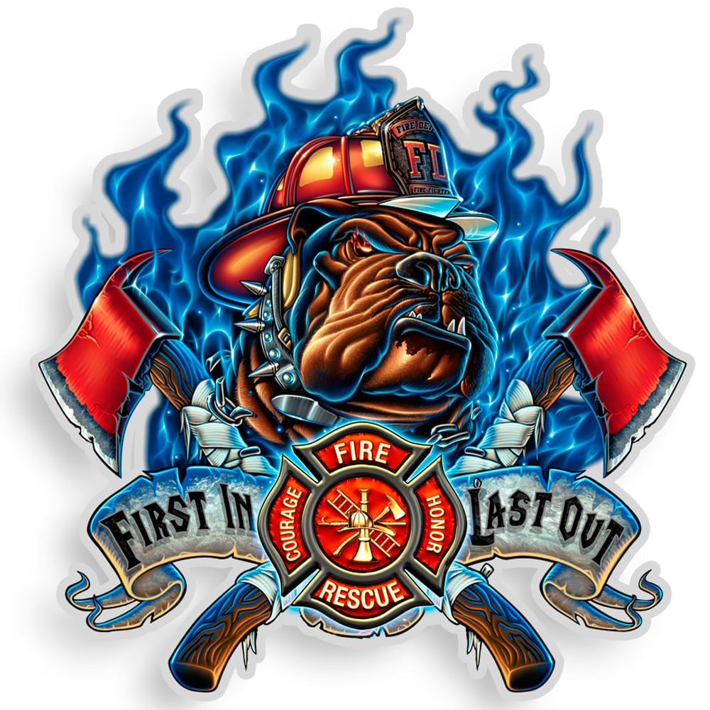 Fire Dog First In Last Out Decal-Claris Deals