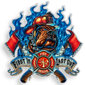 Fire Dog First In Last Out Decal-Military Republic