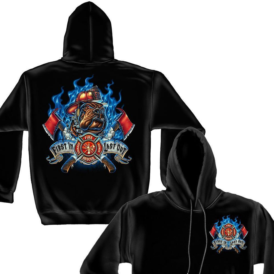 Fire Dog First In Last Out Firefighter Hoodie-Military Republic