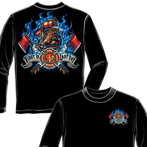 Fire Dog First In Last Out Firefighter Long Sleeve Shirt-Military Republic