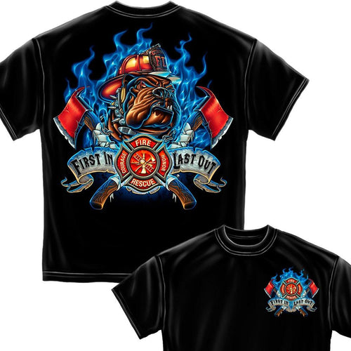 Fire Dog First In Last Out Firefighter T-Shirt-Military Republic