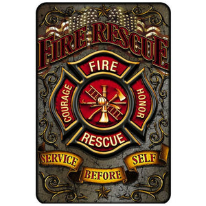 Fire Rescue - Service Before Self Aluminum Sign-Military Republic