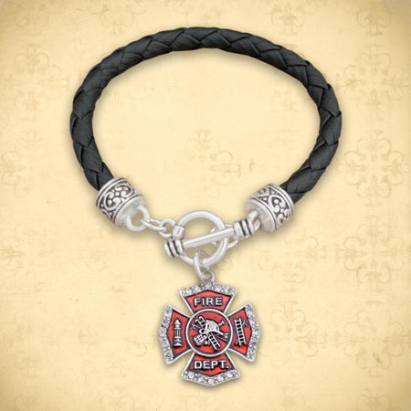Firefighter Badge Leather Bracelet-Military Republic