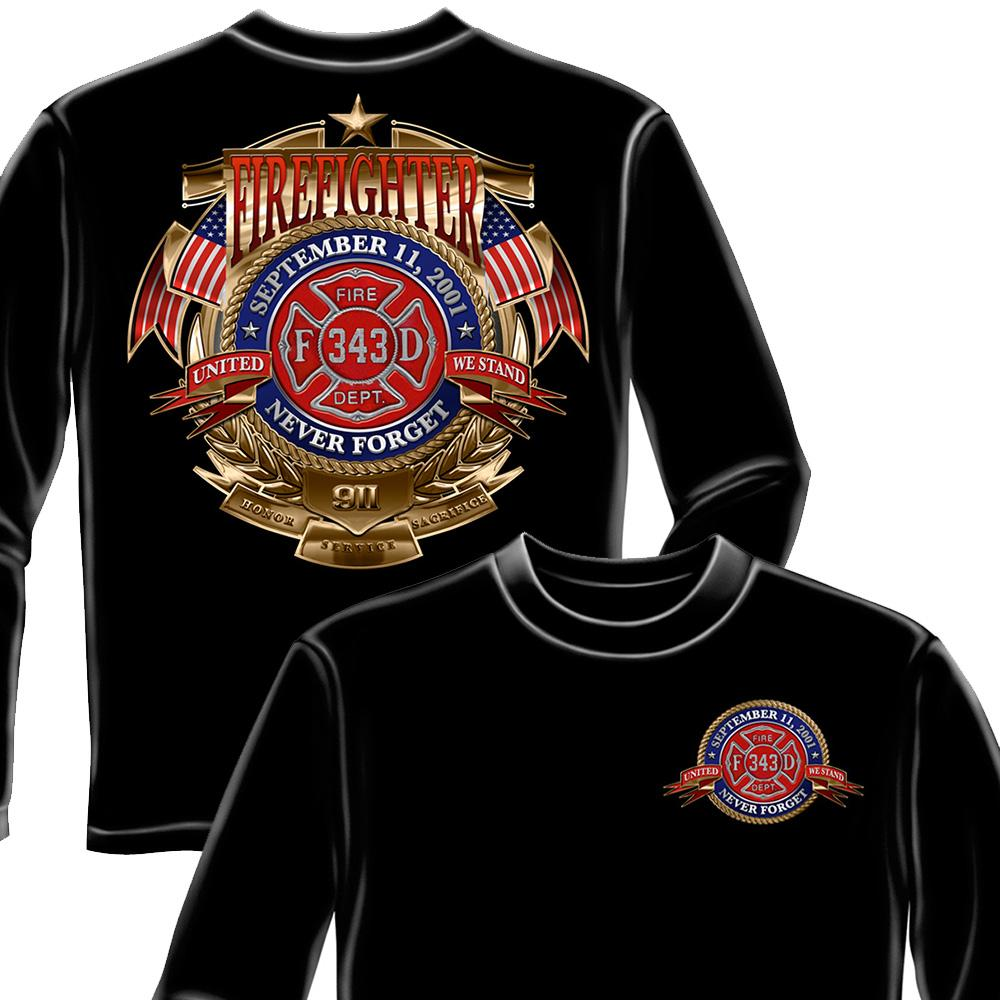 Firefighter Badge of Honor Long Sleeve Shirt-Military Republic