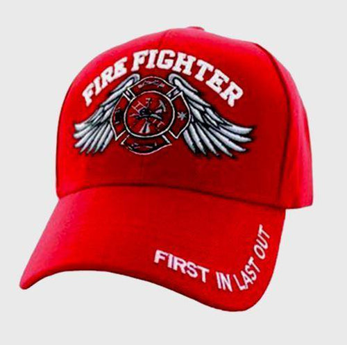 Firefighter Baseball Embroidered Logo  Cap Solid Red