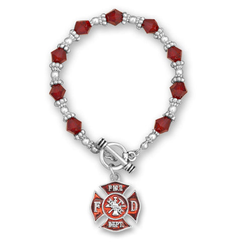 Firefighter Beaded Toggle Bracelet