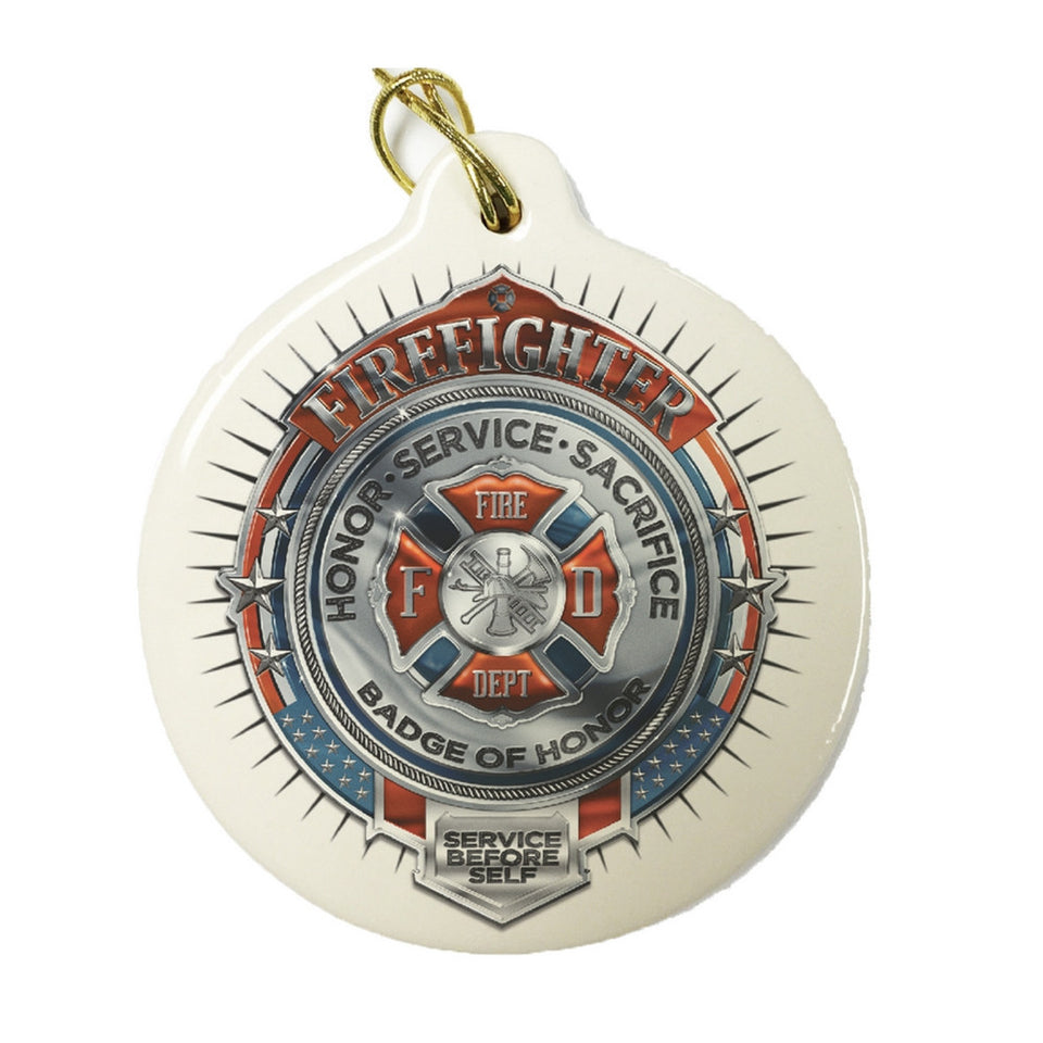 Firefighter Chrome Badge Christmas Ornament-Military Republic
