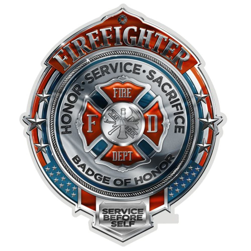 Firefighter Chrome Badge Decal-Military Republic