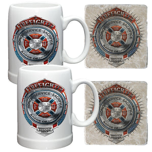 Firefighter Chrome Badge Mug and Coaster Set-Military Republic