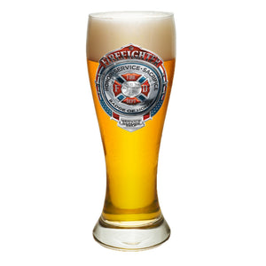 Firefighter Chrome Badge Pilsner Glass Set-Military Republic