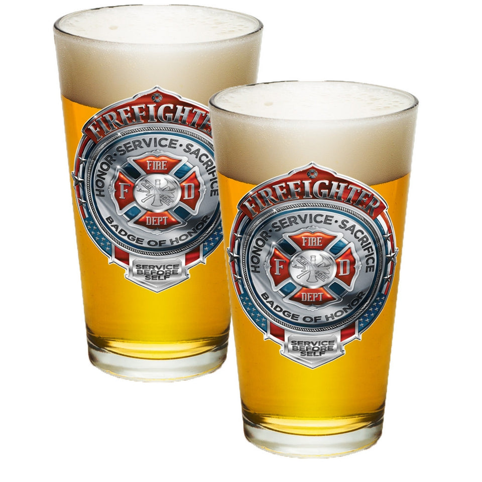 Firefighter Chrome Badge Pint Glasses-Military Republic