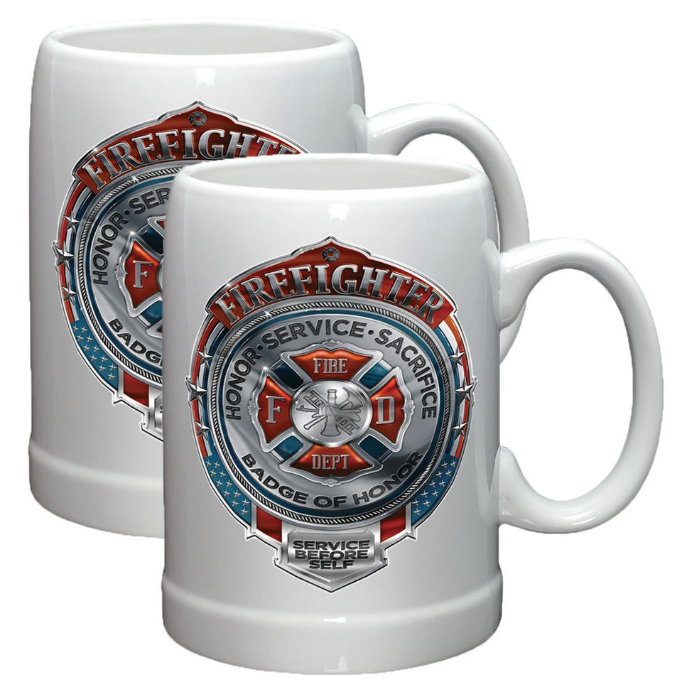 Firefighter Chrome Badge Stoneware Mug Set-Military Republic