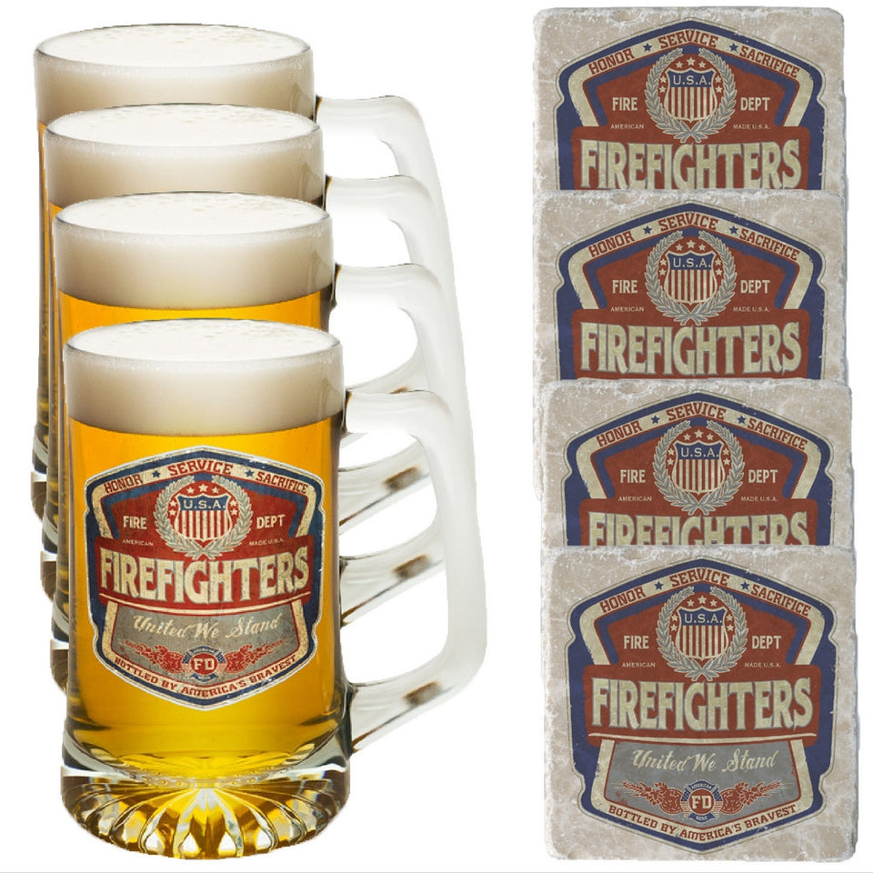 Firefighter Denim Fade Tankard And Coaster Set-Military Republic