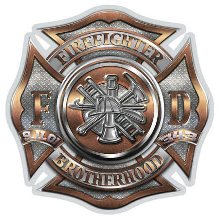 Firefighter Diamond Plate 5 Decal-Military Republic