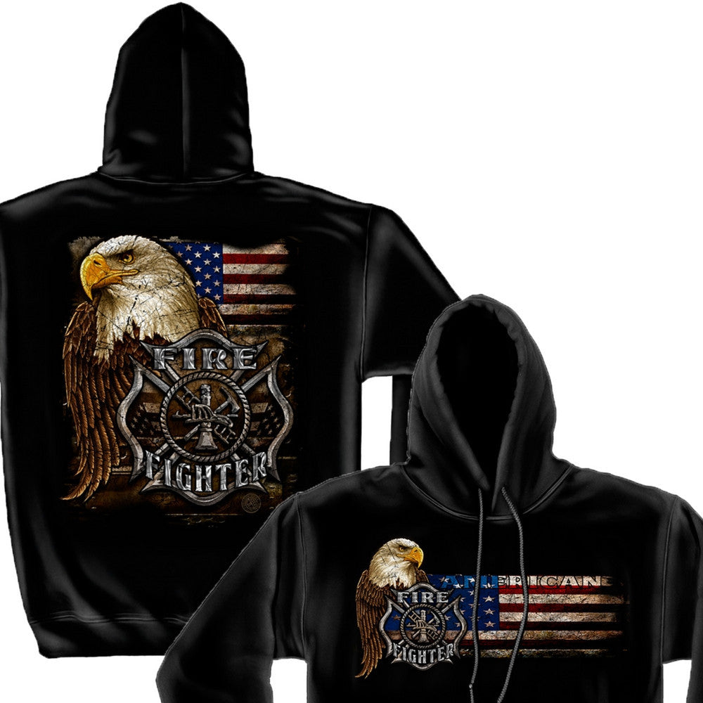Firefighter Eagle And Flag Hoodie-Military Republic