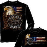 Firefighter Eagle And Flag Long Sleeve Shirt-Military Republic