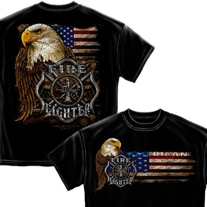 Firefighter Eagle And Flag T-Shirt-Military Republic