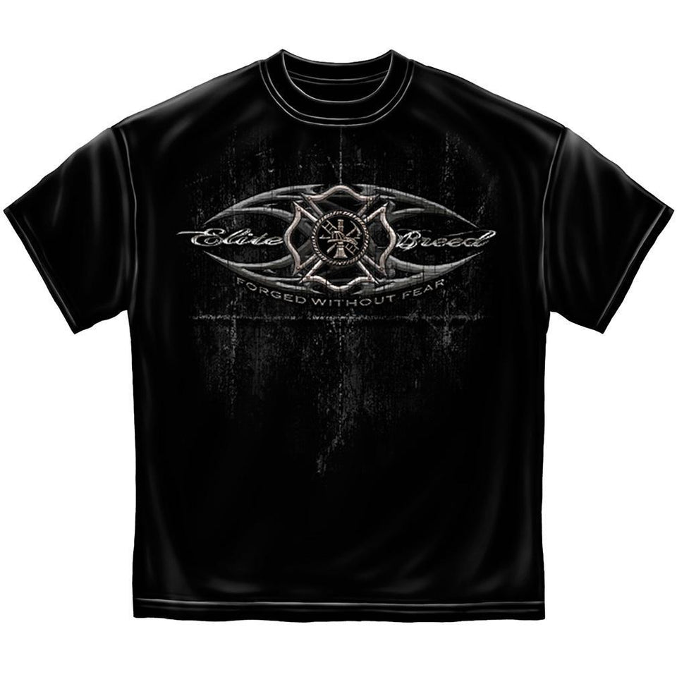 Firefighter Elite Breed Black Silver Foil T Shirt-Military Republic