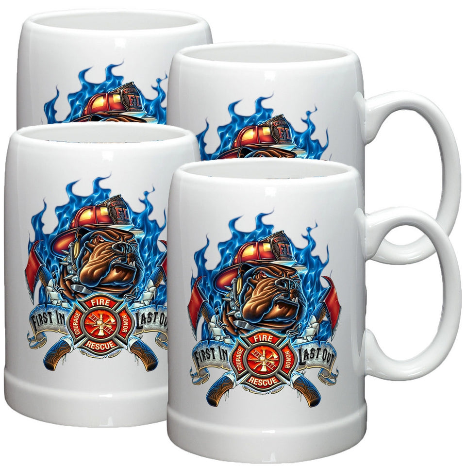 Firefighter First In Last Out Stoneware Mug Set-Military Republic