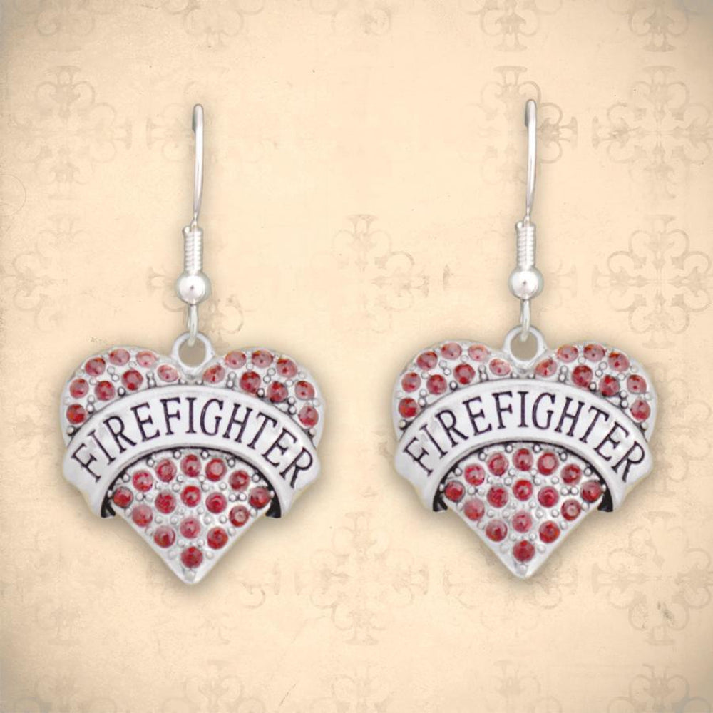Firefighter Heart Earrings-Military Republic