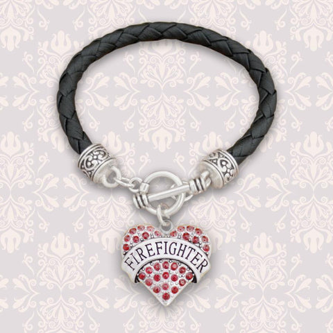 Firefighter Heart Leather Bracelet-Military Republic