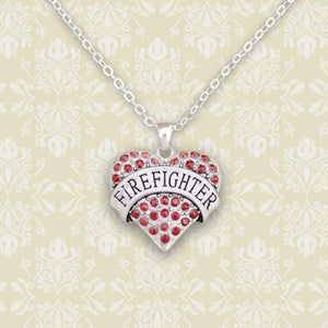 Firefighter Heart Necklace-Military Republic