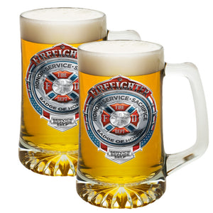 Firefighter Honor, Sacrifice, Service Chrome Badge Tankard-Military Republic