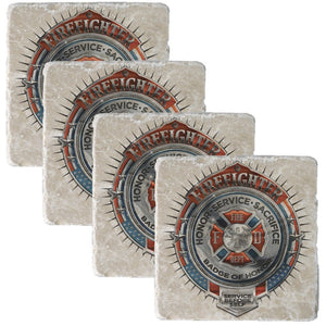 Firefighter Honor, Service, Sacrifice Chrome Badge Collectors Set-Military Republic