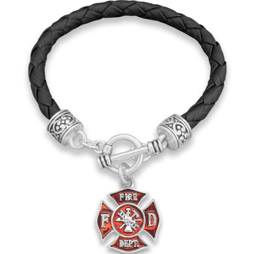 Firefighter Leather Bracelet
