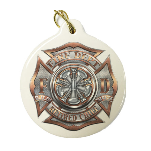 Firefighter Retired Chief Christmas Ornament-Military Republic