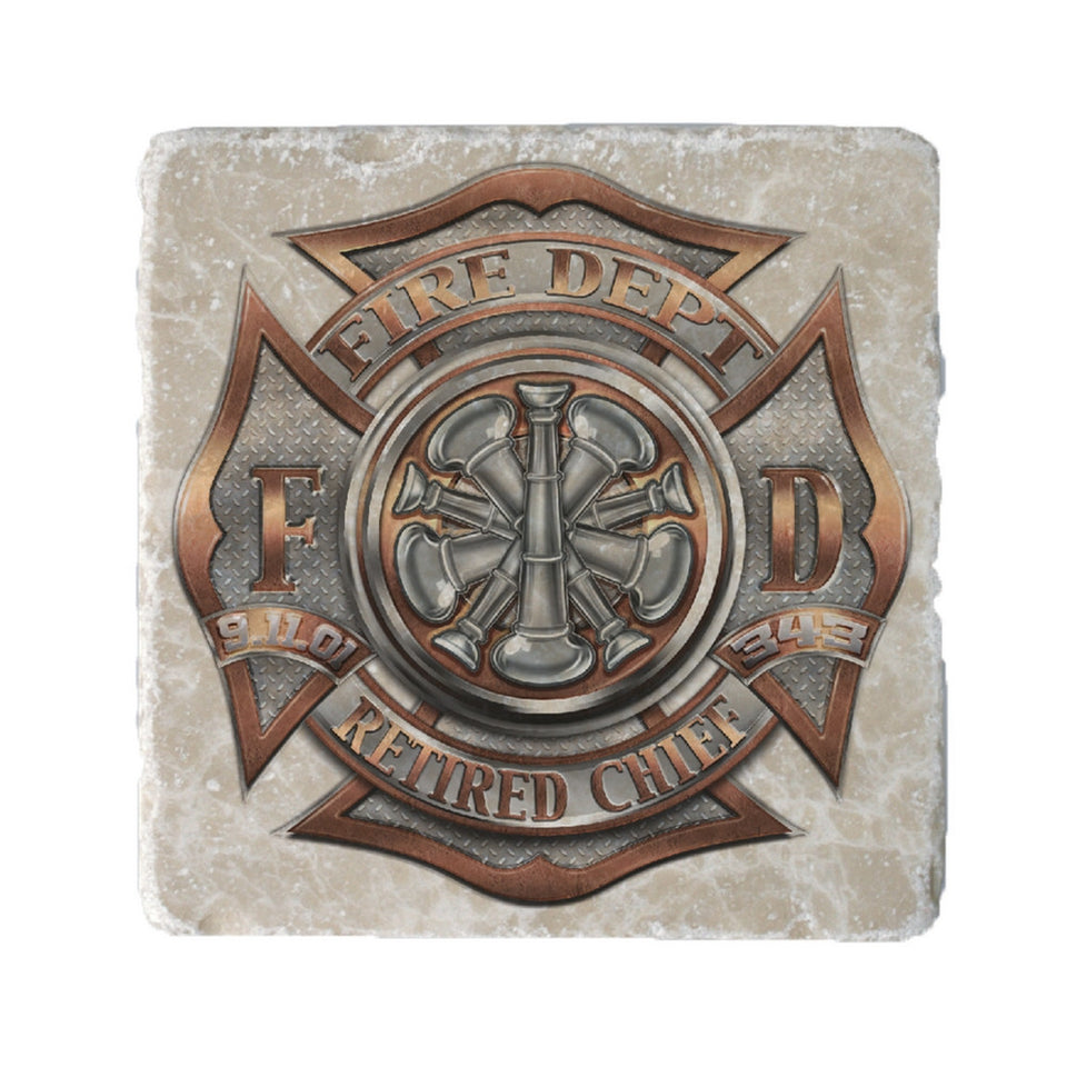 Firefighter Retired Chief Coaster-Military Republic