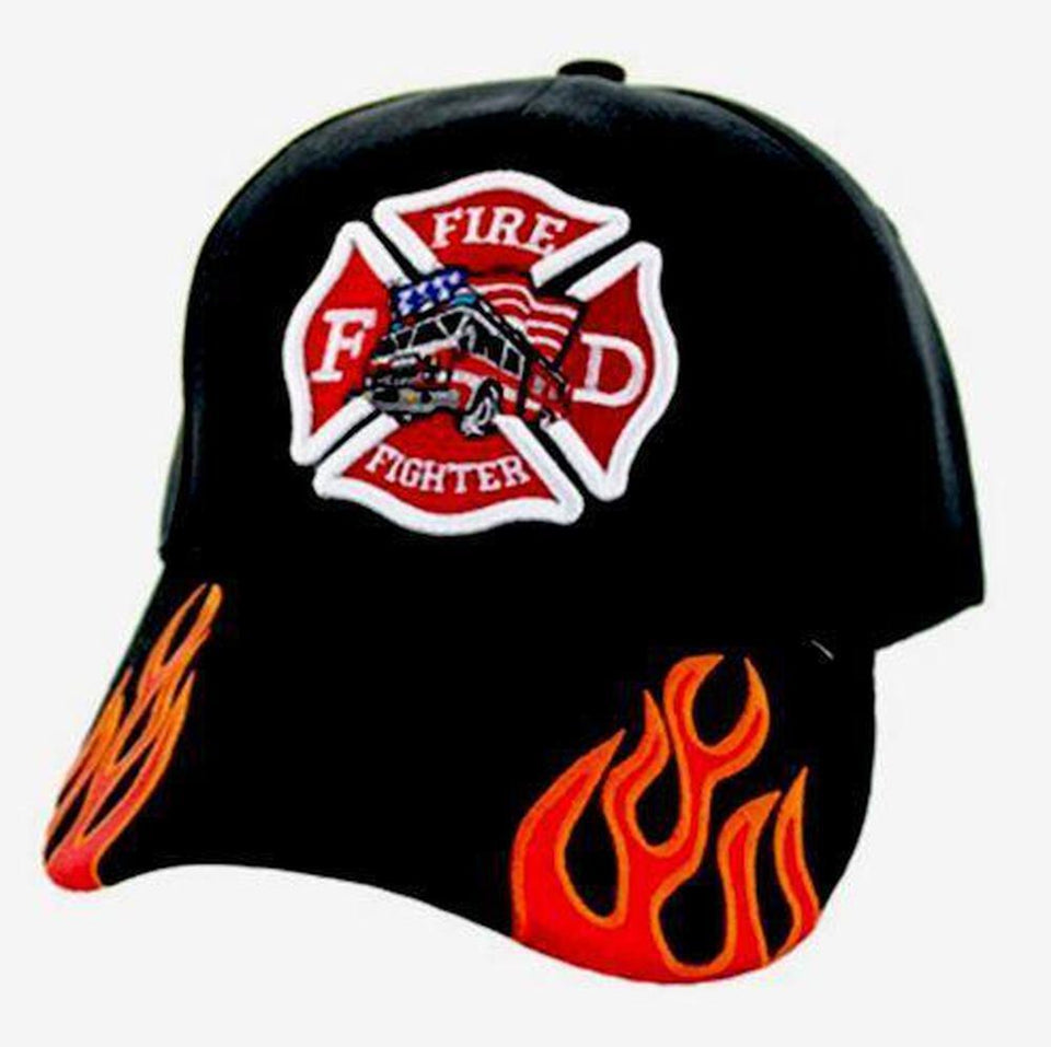 Firefighter Truck Cap Solid Black with Fire Streak