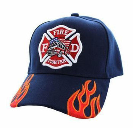 Firefighter Truck Cap Solid Navy with Fire Streal