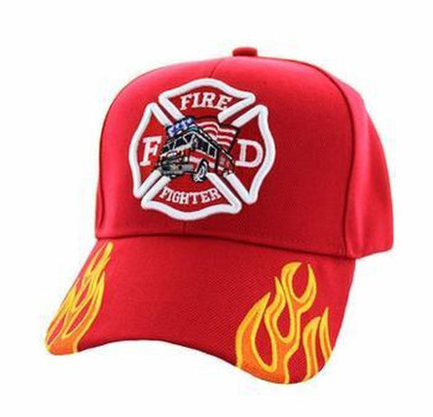 Firefighter Truck Cap Solid Red with Fire Streak