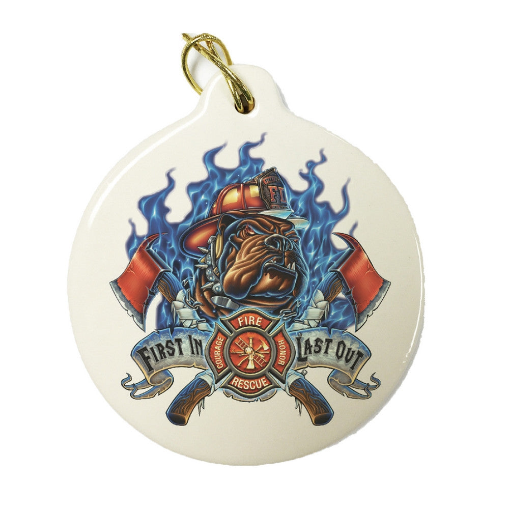 First In Last Out Fire Dog Christmas Ornament-Military Republic