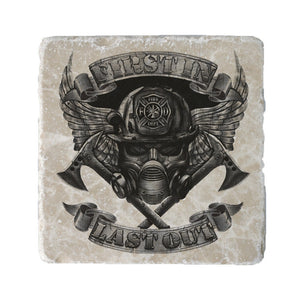First In Last Out Firefighter Chrome Coaster-Military Republic